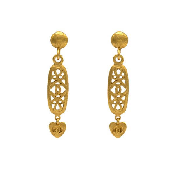 "Chanel 2 3/4"" Gilt Oblong Scrollwork Earrings, Spring 1995"