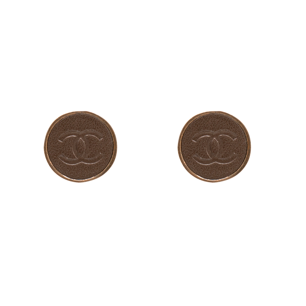 Chanel Embossed Brown Leather Earrings, Autumn 2000