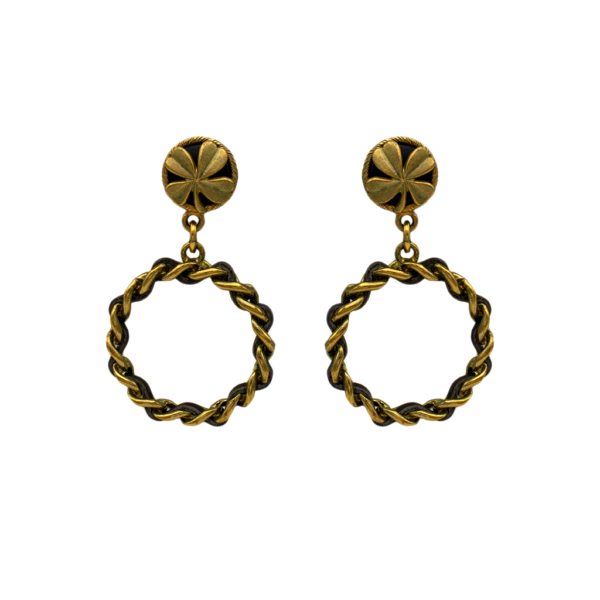 "Chanel 2 5/8"" Gilt & Leather 4-Leaf Clover Topped Hoop Earrings, Spring 1994"