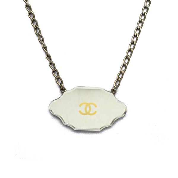 "Chanel 20"" Silver Mirror Plaque Necklace, Cruise 2003"