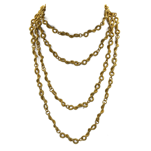 """Chanel 64"""" Gilt Rope Twist Necklace, 1970"""