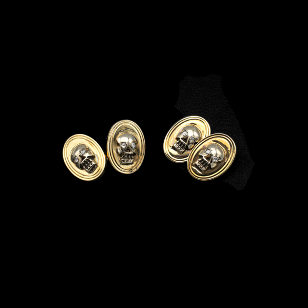 Memento Mori French Cufflinks with Rose Cut Diamond Eyes
