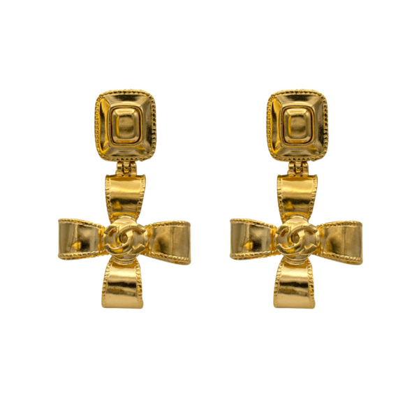 "Chanel 2 1/4"" Dimensional Ribbon Cross Earrings, Autumn 1997"