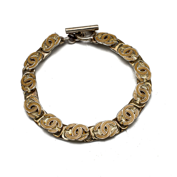 Chanel Silvertone & Yellow Enamel Logo Bracelet, 2000