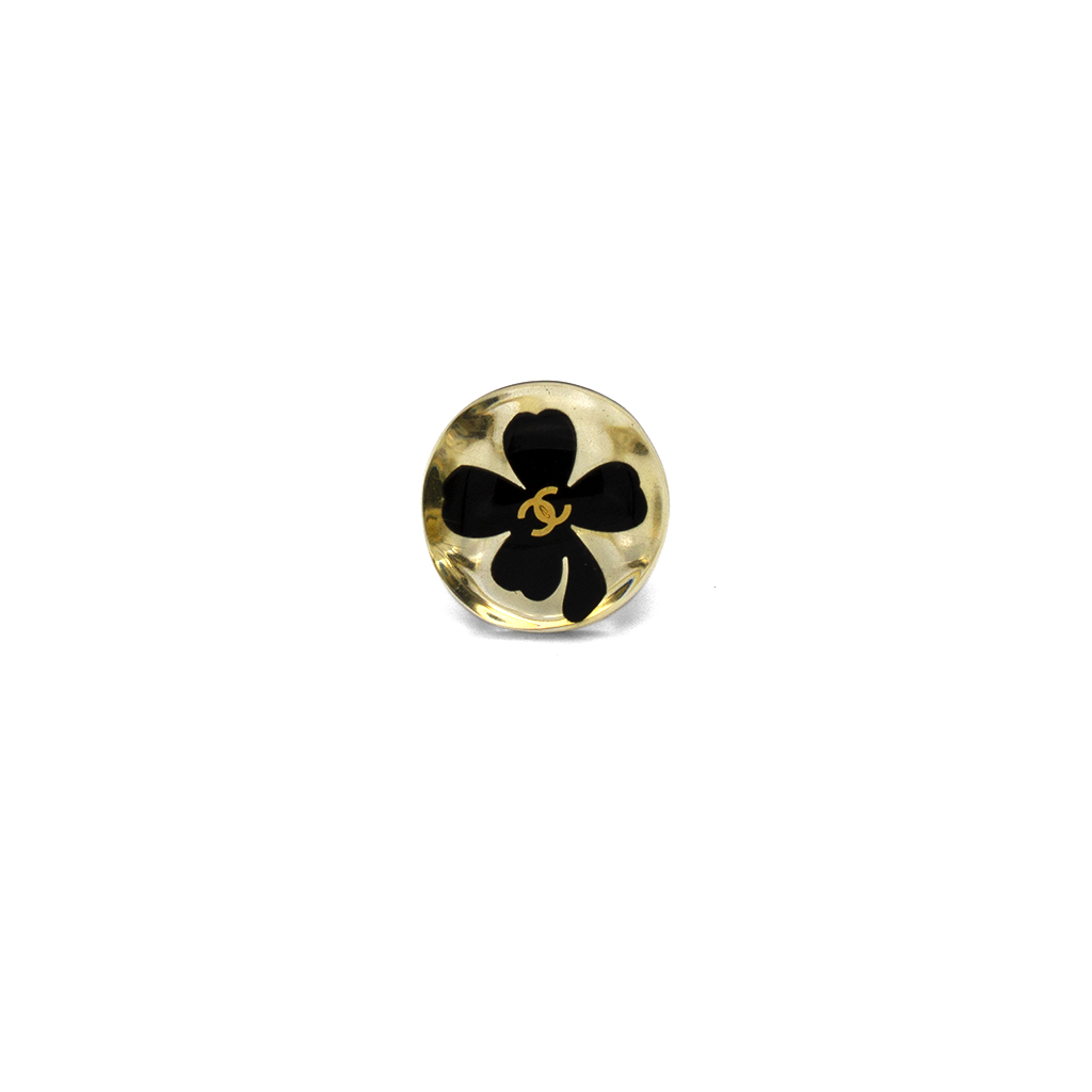 Chanel Clear Acrylic Ring with Black Four Leaf Clover, 2000