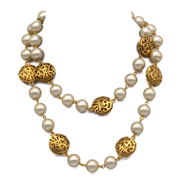 "Chanel 34"" Pearl Necklace with 10 Openwork Stations, 1988"