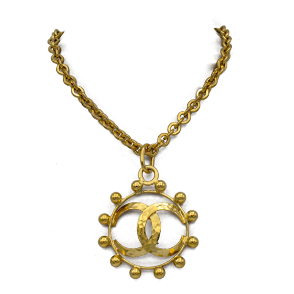 "Chanel 28 1/2"" Beaded Logo Circle Pendant Necklace, 1988"