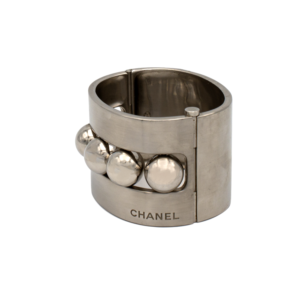 """Chanel 1 3/4"""" Brushed Silver Bracelet with 5 Spheres"""