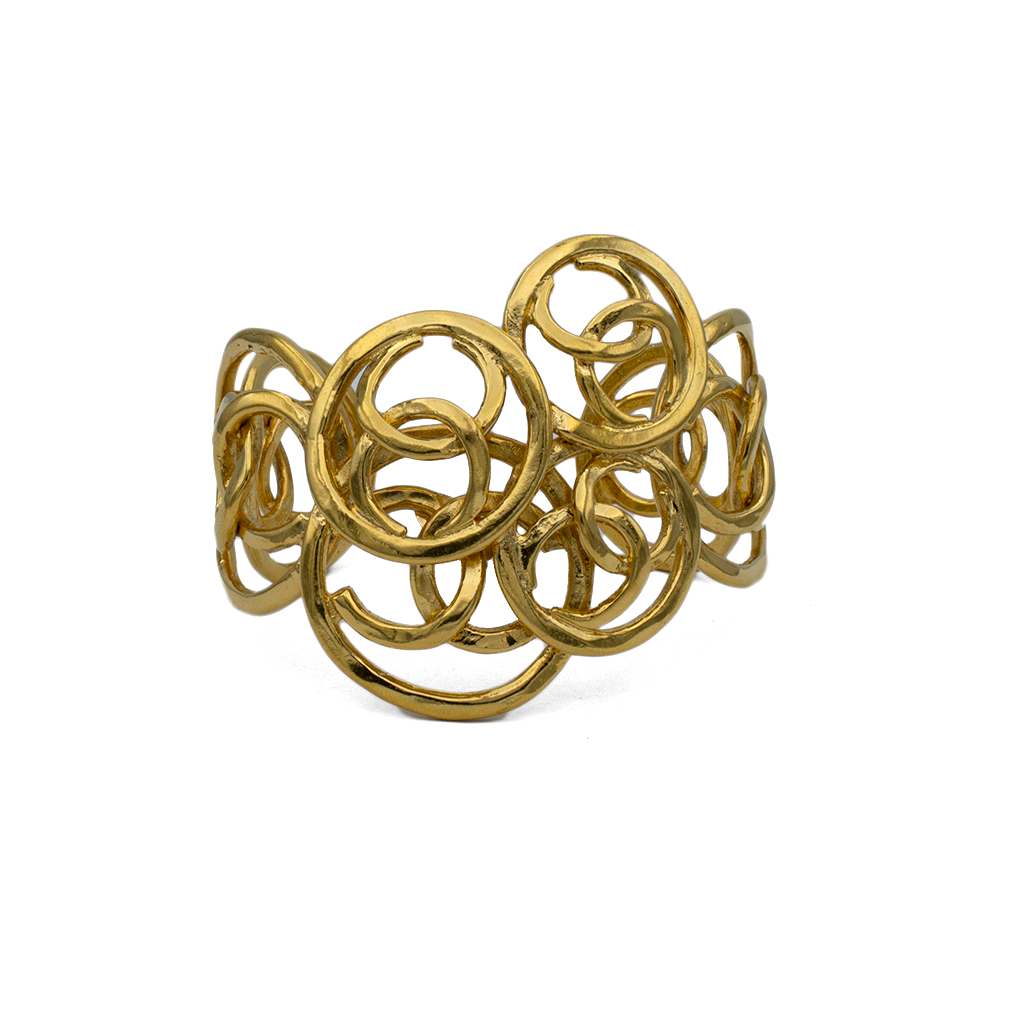 """Chanel 2 1/4"""" Cuff of Overlapping Graduated CC logos, 1991"""