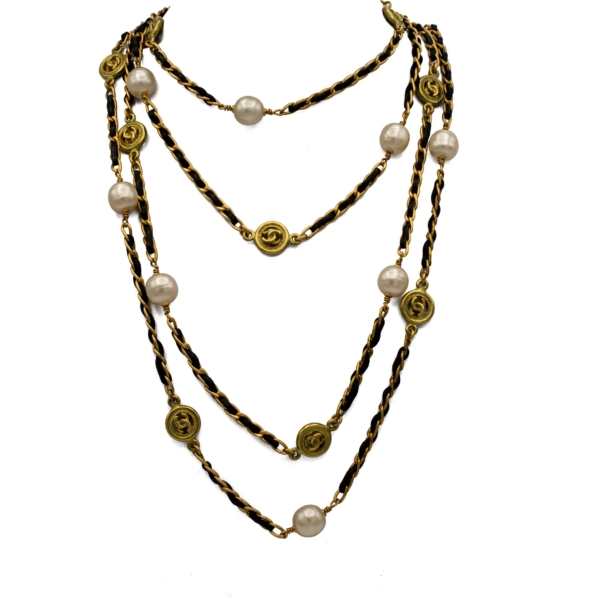 """Chanel 82"""" Gilt curb Chain & Black Leather Necklace with Pearls & Logos, Autumn 1994"""