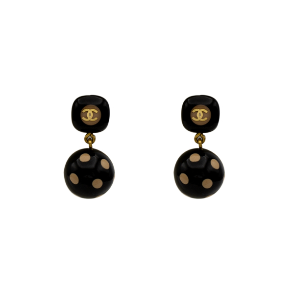 Chanel Black & Beige Acrylic Polka Dot Earrings, Autumn 2000