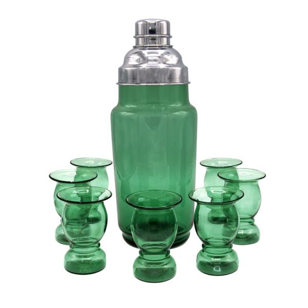Art Deco Green Hand Blown Shaker & Cordial Glasses, Set of Seven (7)
