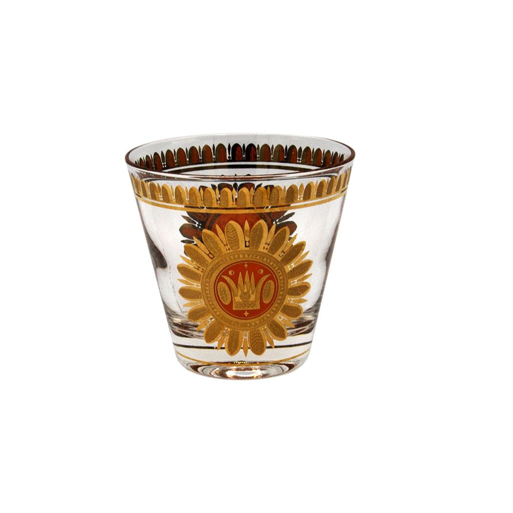"Georges Briard Orange & 22k Gold ""Regalia"" Double Old Fashioned Glasses, Set of Six (6)"
