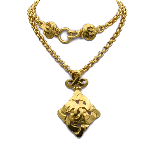 "Chanel 21 1/2"" Oval Link Chain with Heart Quatrefoil Pendant, Spring 1997"