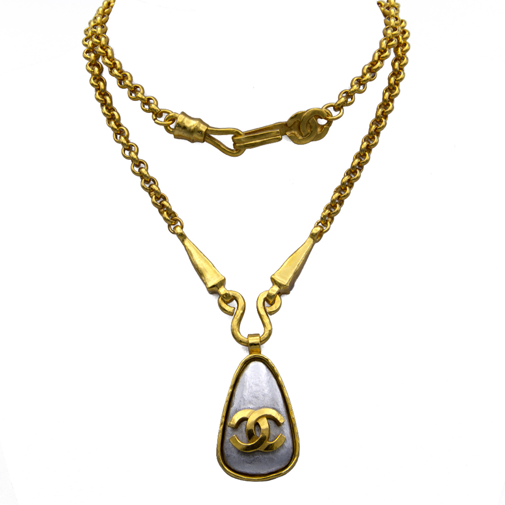 Chanel Gilt Necklace with Silver Triangle Stone Pendant, Autumn 1997