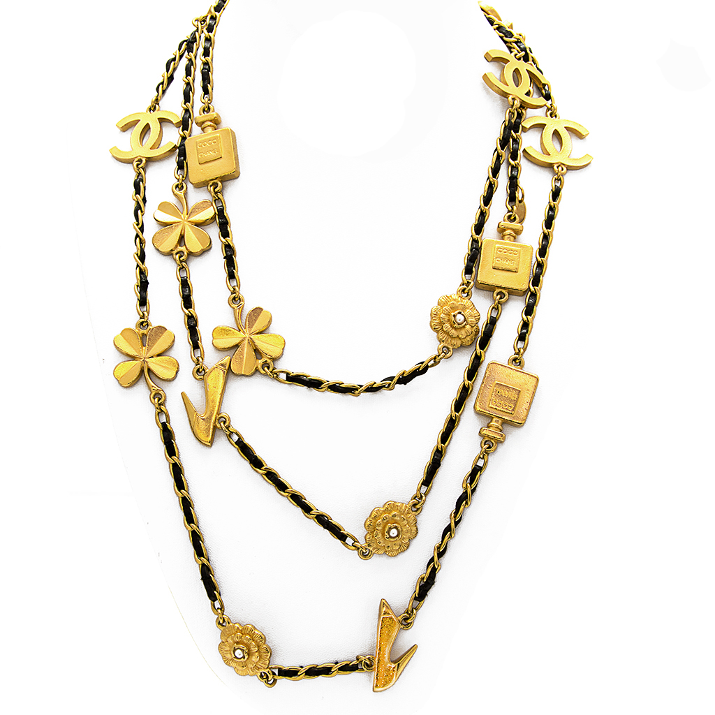 """Chanel 66"""" Gilt & Leather Curb Chain Necklace with Multi Icon Stations, Spring 1996"""