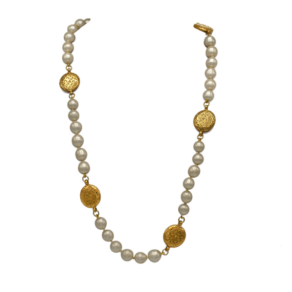 Chanel 31 7/8 Pearl & Logo Disk Necklace, 1980