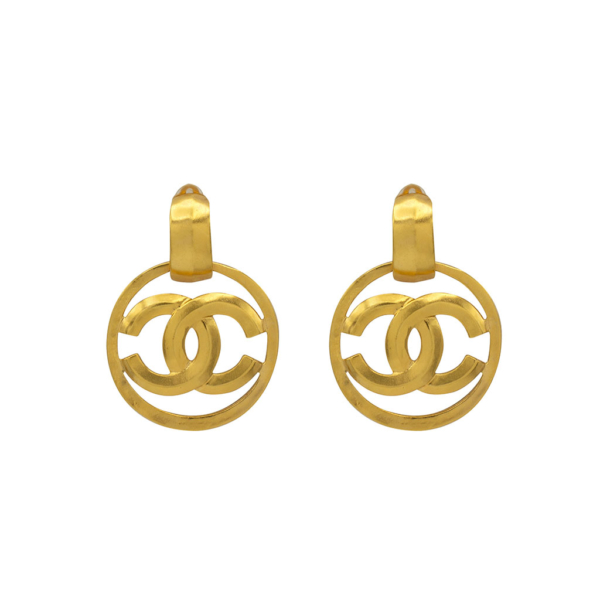 Chanel 2 1/4 Gilt Doorknocker Earrings, Spring 1996