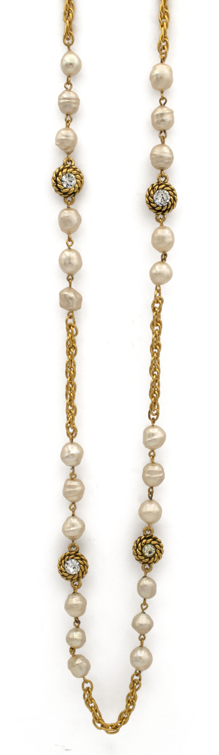 "Chanel 70"" Alternating Pearls & Gilt Rope Twist Chain Necklace, 1990"