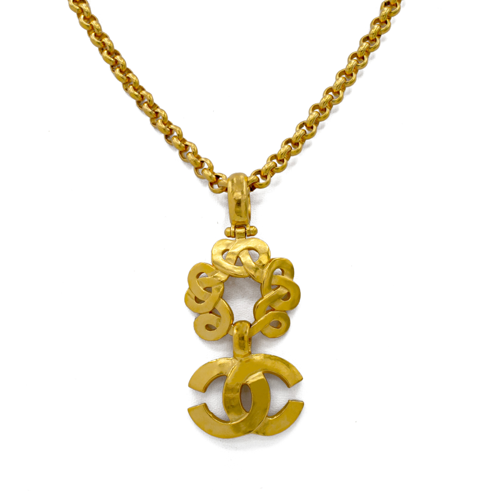 """Chanel 29 3/4"""" Loopy Circle with Logo Pendant Necklace, Spring 1997"""