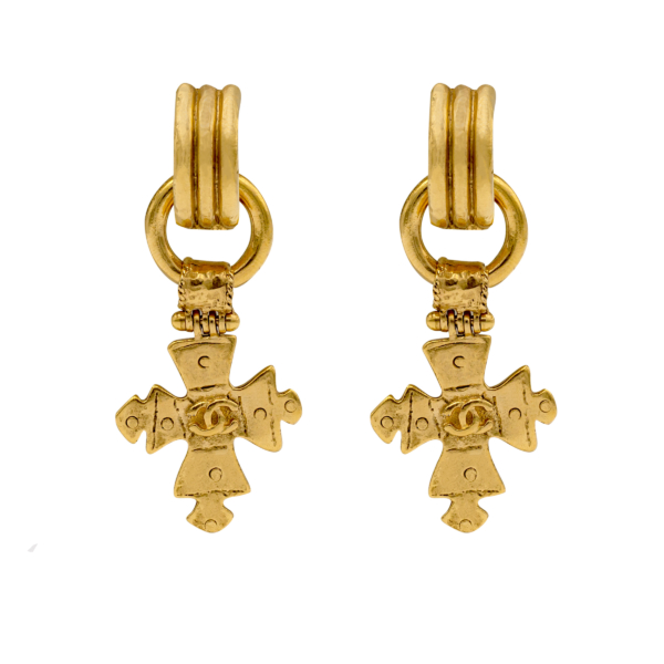 "Chanel 2 9/16"" Removable Cross Hoop Earrings, Spring 1994"