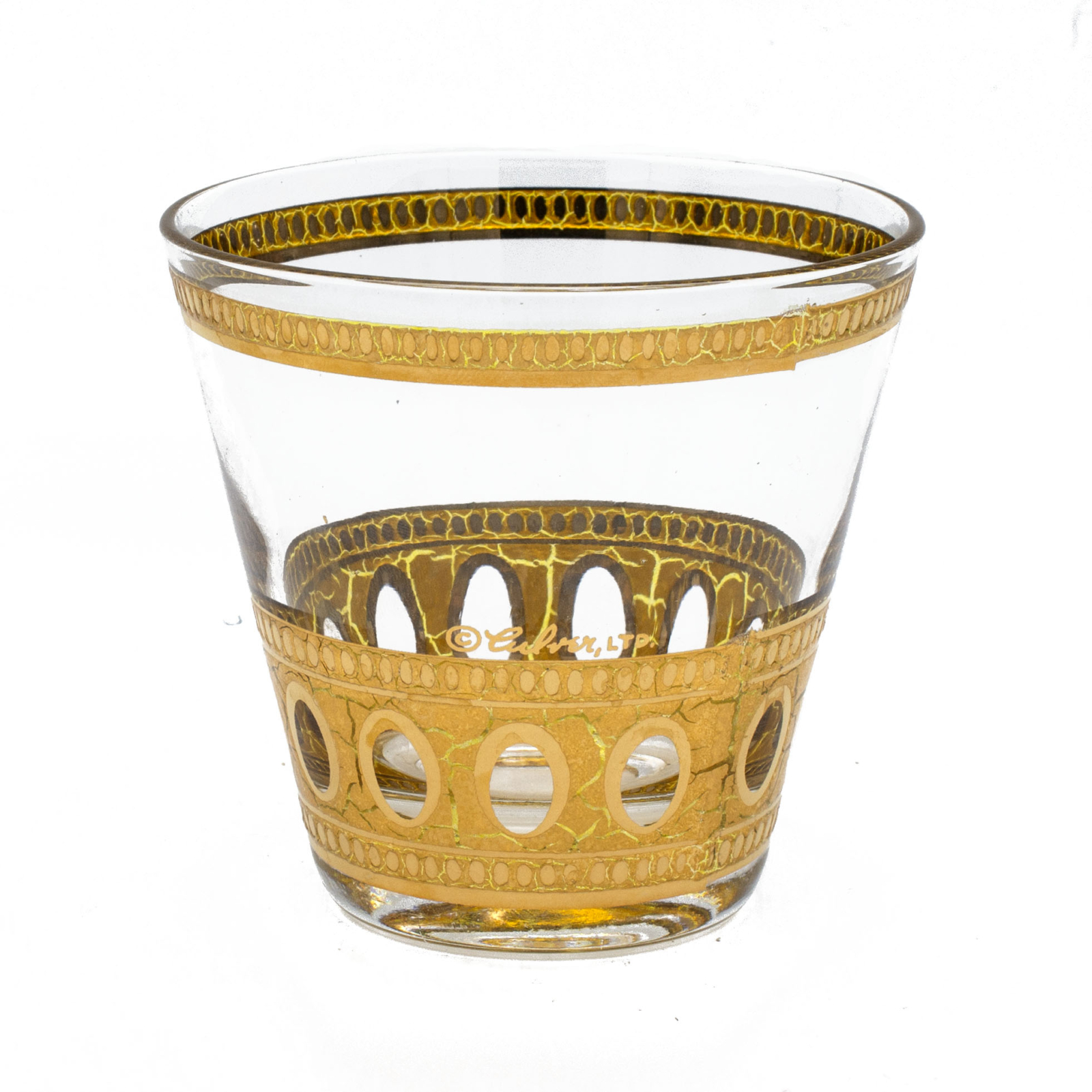"Culver ""Antigua"" 22k Gold Double Old Fashioned Glass"