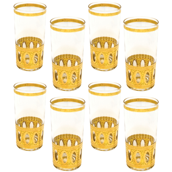 "Culver 22k Gold ""Antigua"" Highballs, Set of Eight (8)"