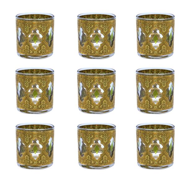 "Culver ""Valencia"" Green & 22k Gold Small Rocks Glasses, Set of Nine (9)"