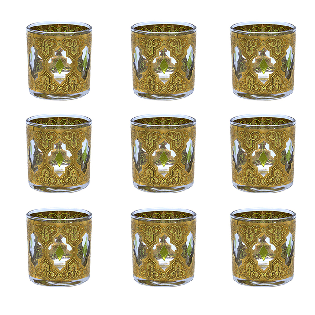 "Culver ""Valencia"" Green & 22k Gold Small Rocks Glasses, Set of Nine (9)"