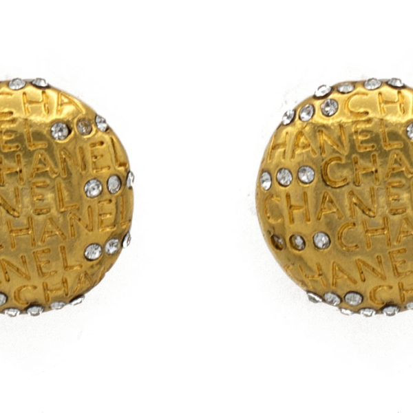 Chanel Gilt Dome Earrings with Engraved CHANEL & Paste Accents, 1980