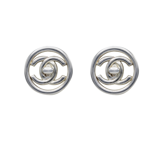Chanel Silver Turn Clasp within a Hoop Earring, Spring 1997