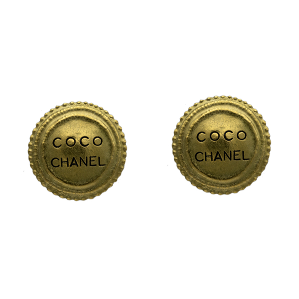 """Chanel Matte Gold """"COCO CHANEL"""" Disk Earrings, Autumn 1994"""