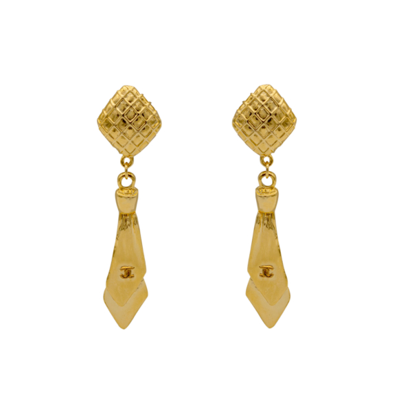 "Chanel Gilt ""Necktie"" Earrings, 1980"