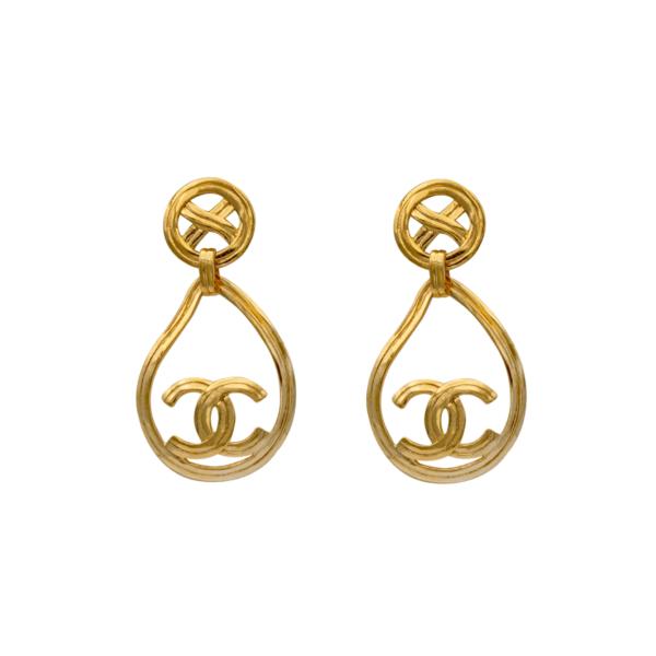 Chanel Gilt Modern Paisley Drop Earrings, Spring 1996
