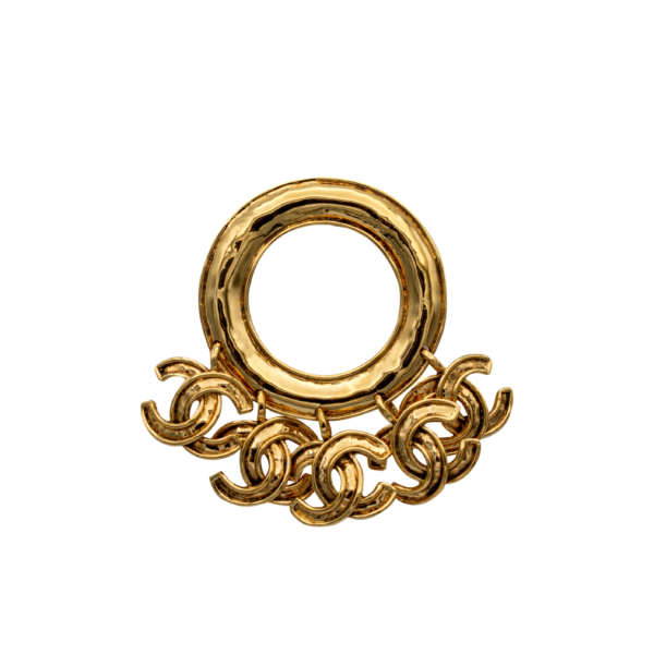 Chanel Gilt Hammered Hoop with Charms Brooch, Spring 1994