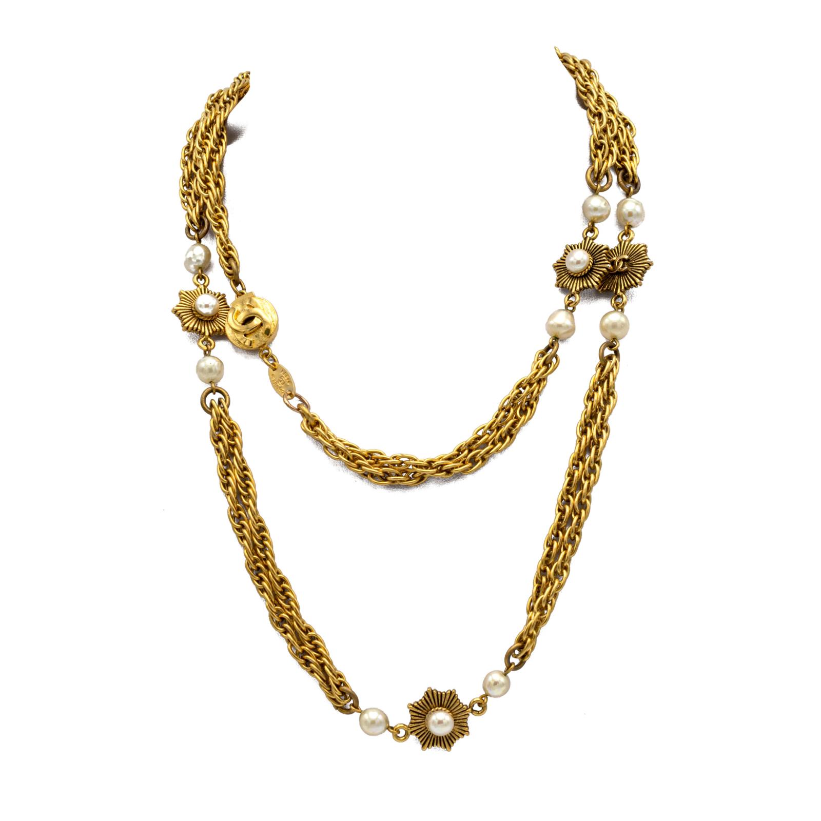 "Chanel 38"" Double Strand Sunburst & Pearl Necklace, 1984"