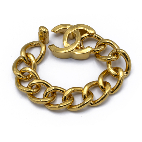 "Chanel 7 3/4"" Gilt Curb Chain Bracelet with Logo Turn-Clasp, Autumn 1996"