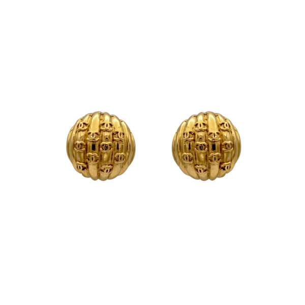 Chanel Gilt Dome Earrings with 10 CC logos, 1986