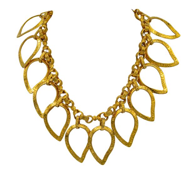 Chanel Gilt Ribbon Paisley Bib Necklace, Spring 1996
