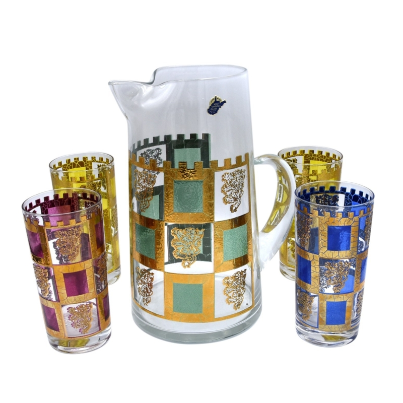 """Culver """"Henry VIII"""" Pitcher with Highball Glasses"""