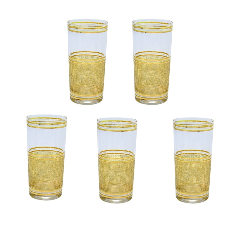 Culver Mesh Pattern 22k Gold Highball Glasses, Set of Five (5)