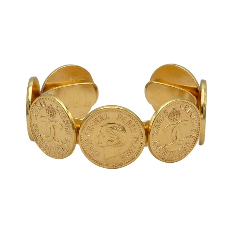 Chanel Logo & Mademoiselle Coin Cuff Bracelet