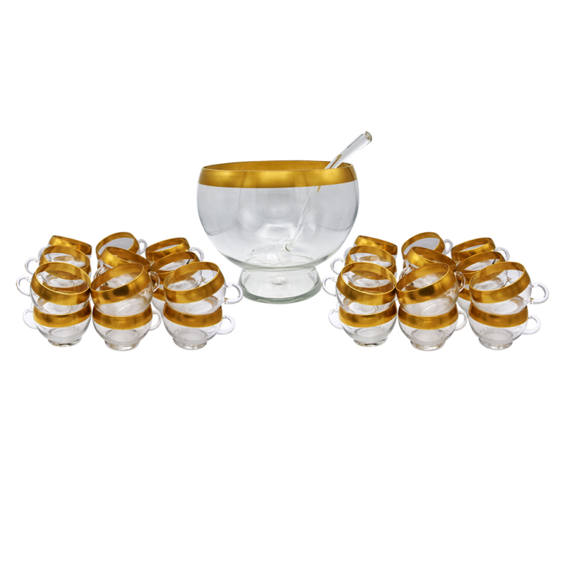 Dorothy Thorpe Gold Rimmed Punch Bowl & 36 Cups