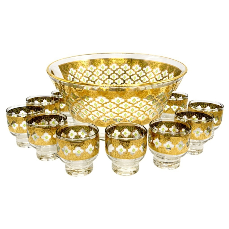"Culver ""Valencia"" Green & 22k Gold Punchbowl with Footed Martini Glasses, Set of Twelve (12)"