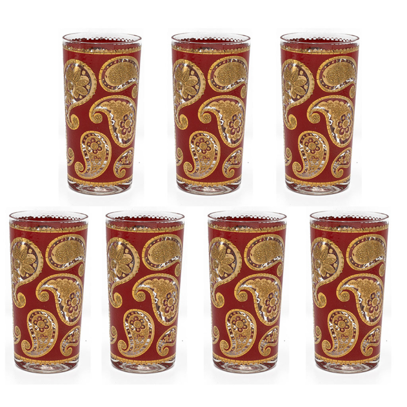 """Culver """"Red Paisley"""" Red & 22k Gold Highball Glasses, Set of Seven (7)"""