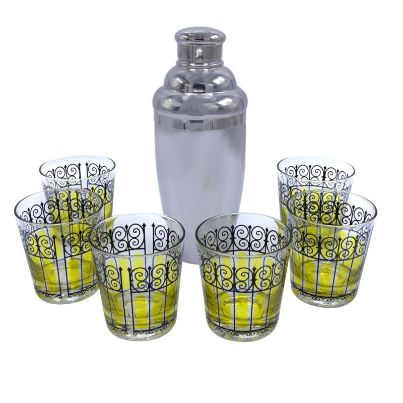 Mid Century Yellow & Black Rocks Glasses with Chrome Shaker