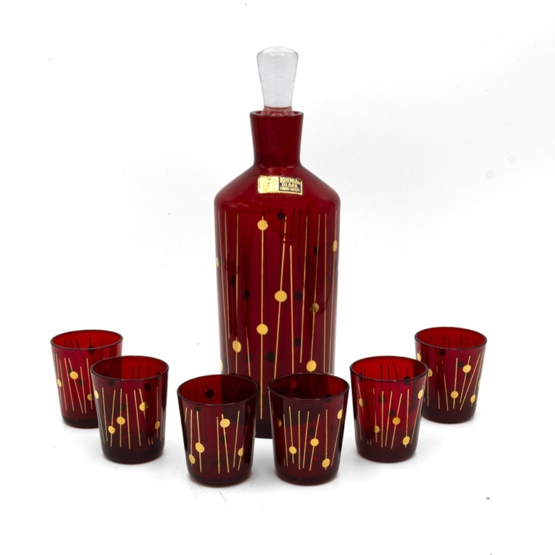 Mid Century Bohemian/Czech Ruby Red & Gold Crystal cordial Glasses & Decanter, Set of Six (6)