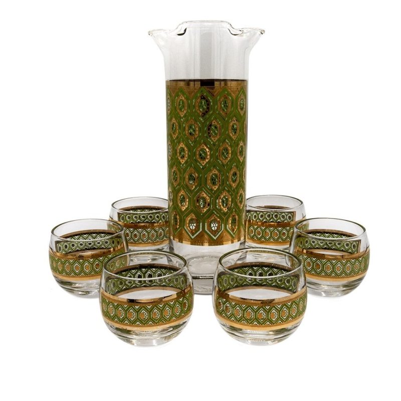 Culver Green & 22K Gold Geometric Roly Poly Glasses with Pitcher, Set of Six (6)