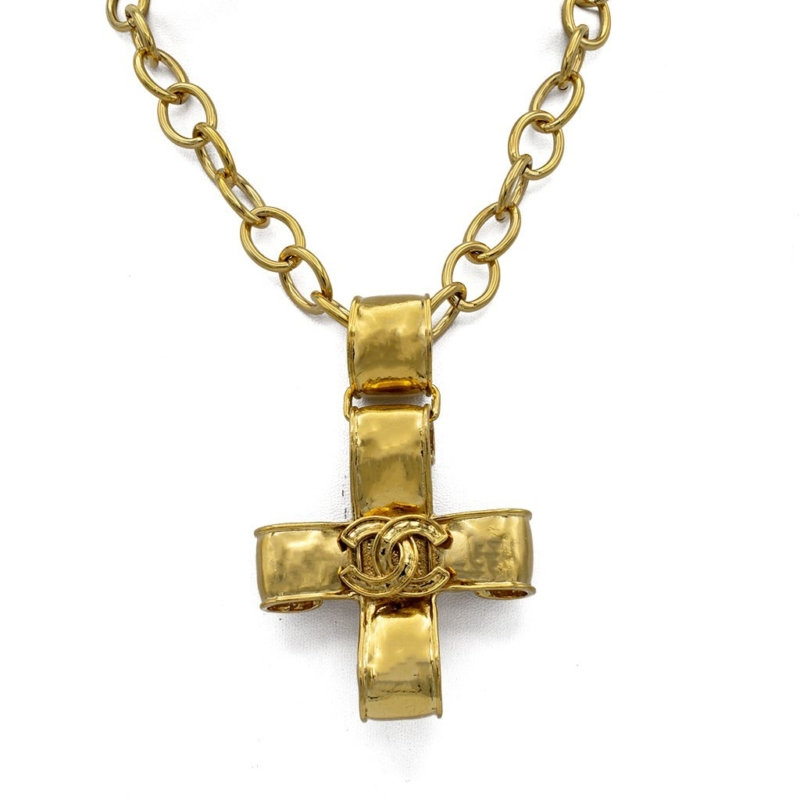 """Chanel 35"""" Gilt Articulated Curled Cross Pendant Necklace, Spring 1994"""