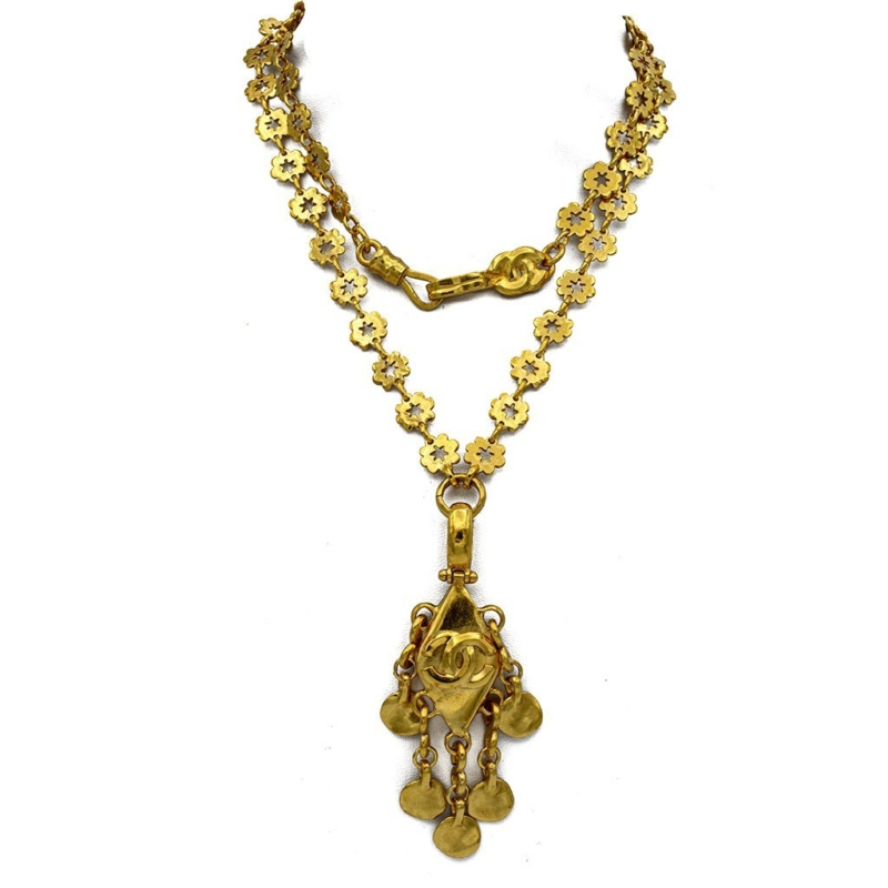 """Chanel 30"""" Gilt Flower Chain with Fringed Pendant, Spring 1996"""